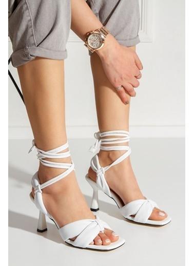 Derithy Saulden Topuklu Ayakkabı-Ten-Byc1704 Beyaz